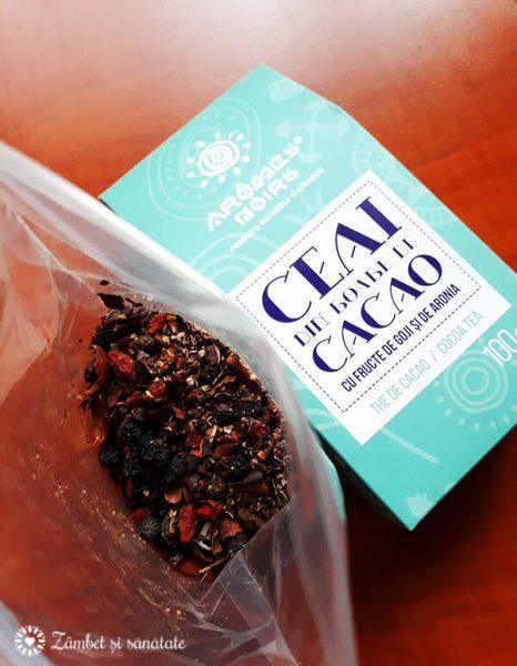 ceai din boabe de cacao goji si aronia